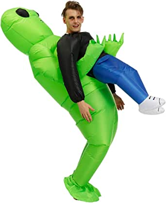KOOYNN Inflatable Alien Costume Dinosaur Halloween Costume Blow up Fancy Dress Adult/Kids