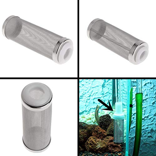 (POPETPOP Filter Intake Strainer,Aquarium Fish Tank Pre-Filter Intake Filter 12mm Stainless Steel Cover Filter Guard)