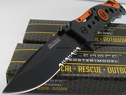 Snake Eye Tactical Spring Assisted Opening EMT EMS Orange Folding Pocket Knife