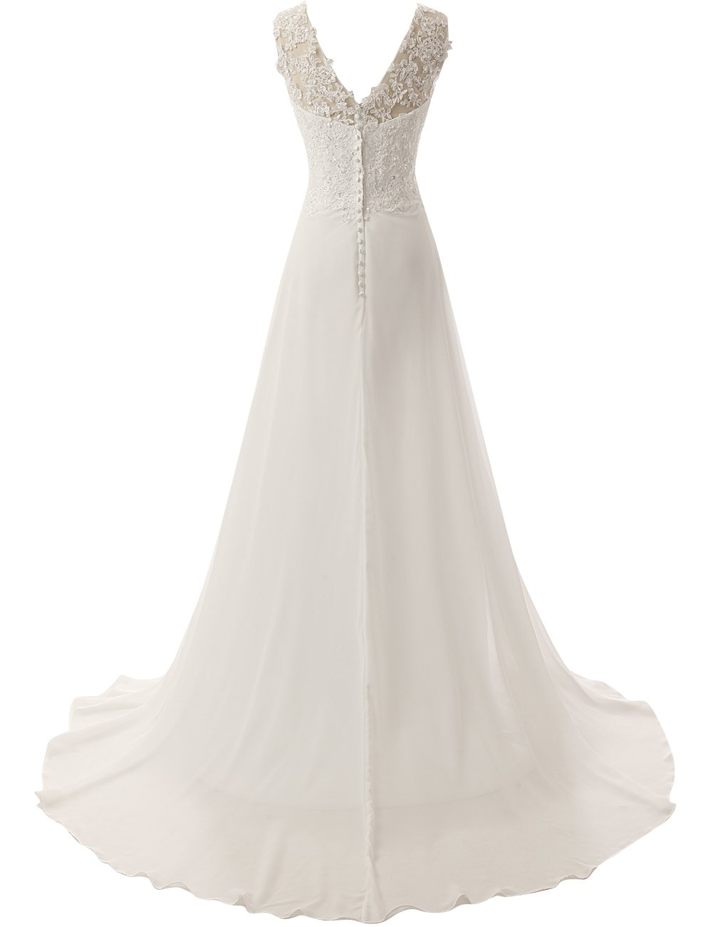 JAEDEN Elegant Lace Beach Wedding Dresses Chiffon V Neck A Line Long Bridal Gown White US22W by JAEDEN (Image #2)