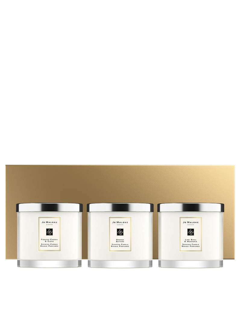 Jo Malone Christmas Deluxe Candle Collection Lime Basil & Mandarin - Frosted Cherry & Clove - Orange Bitters each 21. Oz. (600 Gr) + Luxury Leather Box