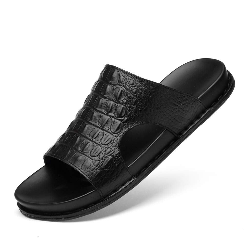 Color : Black, Size : 8.5 D M US HONGkeke Mens Beach Slippers Casual Comfortable Solid Color Genuine Leather Outsole Sandals Vacation Walking Shoes Durable
