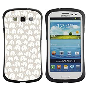 Fuerte Suave TPU GEL Caso Carcasa de Protección Funda para Samsung Galaxy S3 I9300 / Business Style White Pattern Beige Minimalist