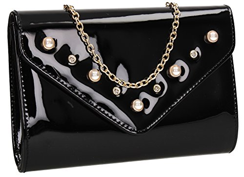 SWANKYSWANS Out Evening Callie Celebrity Prom Patent Clutch Party Ladies Envelope Bag Wedding Diamante Black Stud Night H14xwHFp