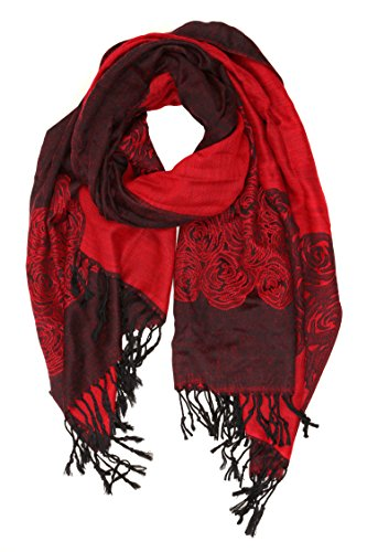 Sakkas CHS1510 - Aubry dual colored ranunculus border soft Pashmina/ Shawl/ Wrap/ Stole - Red - OS