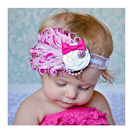 DDU (TM) 1 Pcs Rose-Belle Plume tête d'usure Bandeau pour bébé nouveau-né Toddler Girls
