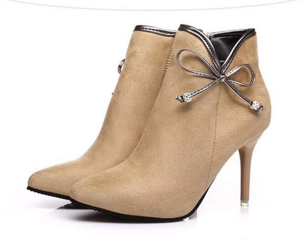 GTVERNH Damenschuhe/Mode/Kurze Stiefel Spitzen Martin Stiefel 9Cm High Heels Im Frühling und Herbst - Winter Frauen - Stiefel.