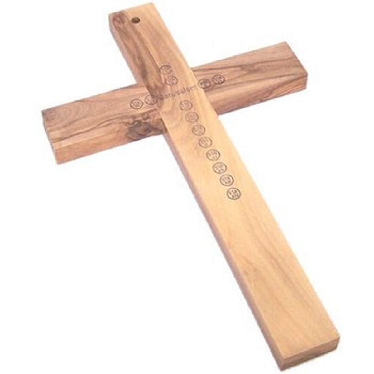 Medalla De San Benito y tierra santa hecho a mano plateado Crucifijo ba/ñado por Bel/én regalos TM Cruz de madera de pared 10/St