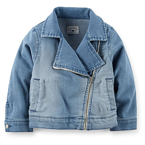 Carter's Baby Girls' Stretch Denim Moto Jacket (9 Months, Denim)