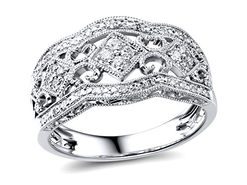 Diamond Anniversary Ring Band 1/5 cttw in Rhodium Plated Sterling Silver-Size 7
