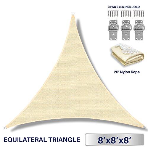 Windscreen4less 8' x 8' x 8' Triangle Sun Shade Sail - Beige Durable UV Shelter Canopy for Patio Outdoor Backyard - Custom by Windscreen4less
