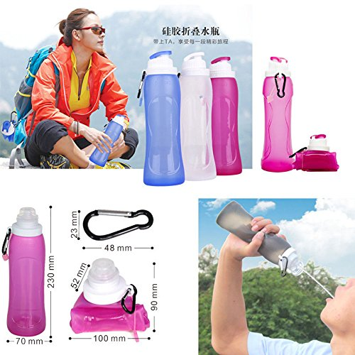 VECTOR 500ml 17Oz Foldable Silicone Sport Water Bottle BPA Free FDA Approved for Cross country Running Bike Hiking Camping