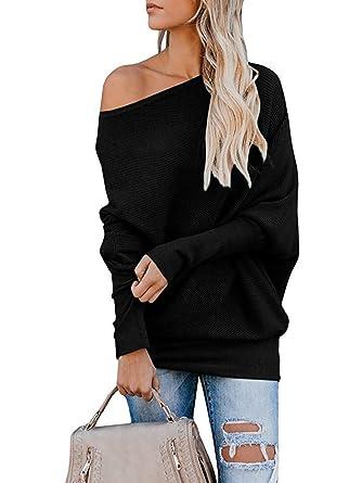 1666d0703f Gemijack Womens Off Shoulder Jumper Rib Knitted Batwing Pullover Sweater  Knit Tops Black