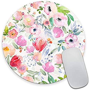 ABin Beautiful Watercolor Flower Round Mouse pad Customized Non Slip Rubber Round Mouse pad Non Slip Rubber Mouse pad Gaming Mouse Pad