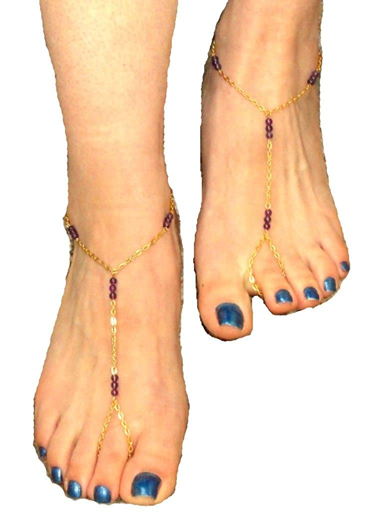JY Jewelry Gold Tone simple Purple Beads Leg chain link with Toe Anklet