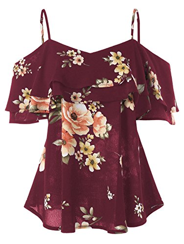 GAMISS Women's Floral Cold Shoulder Top Casual Ruffle Sleeve Layered Chiffon Blouse (Wine Red, - Ruffle Top Floral