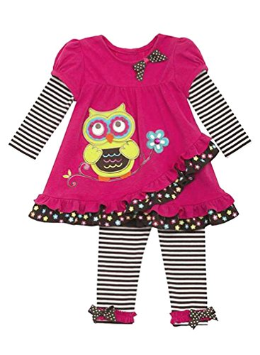 Girl 4t 4 Rare Editions (Rare Editions Little Girls' Fuchsia Brown OWL Applique Stripe Leggings 2-pc set, 4T/4)