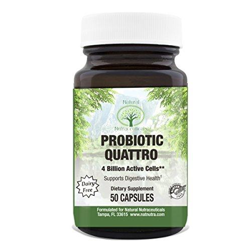 Probiotic Quattro by Natural Nutra – 4 Gut Boosting Strains – Lactobacillus Acidophilus, B. Lactis, and More, 50