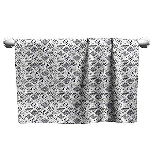 DUCKIL Personalized Hand Towels Abstract Square Shaped Lines Dots Wavy Stripes Spiral Spots Floral Petals Artful Illustration Fancy Bath Sheet 23 x 8 inch Indigo ()