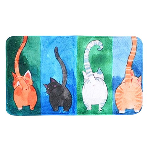 - Yezijin Cat Printed Bathroom Kitchen Rugs Doormats Carpet for Living Room Non-Slip Mats (50 x 80cm)