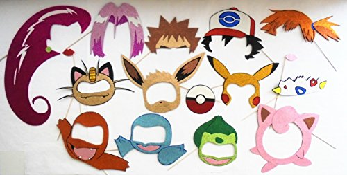 Inspired in Ash Pikachu and Pokefriends Photo Booth Party Props 16 pieces by picwrap