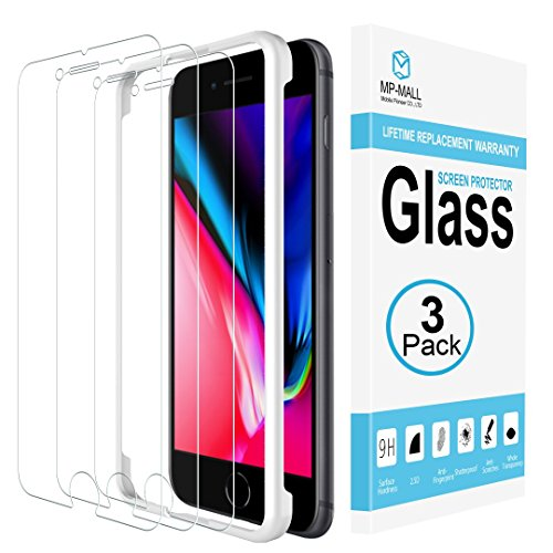 MP-MALL [3-Pack] Screen Protector Compatible with iPhone 8, [Case Friendly] Tempered Glass [Alignment Frame Easy Installation] with Lifetime Replacement Warranty