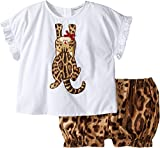 Dolce & Gabbana Kids Baby Girl's Zambia T-Shirt/Shorts One-Piece (Infant) White Leopard Print Suit