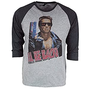 Brand Men's Mens Official Retro Vintage The Terminator I'll Be Back 3/4 Sleeve Raglan T Shirt Heather Gray Large - Chest 42-44in Heather Gray With Black Sleeves