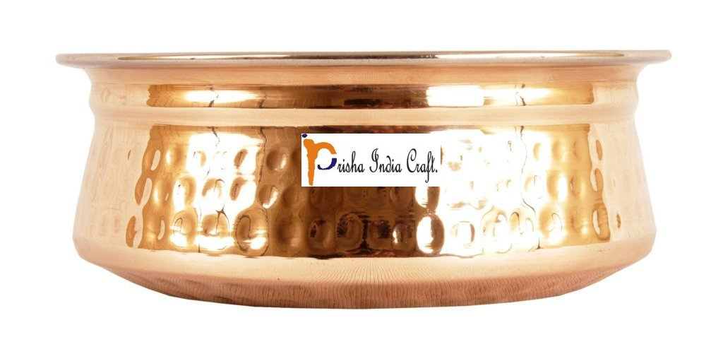 Set of 4 Prisha India Craft ® High Quality Handmade Steel Copper Casserole and Serving Spoon - Set of Copper Handi and Serving Spoon - Copper Bowl Dia - 5.00'' X Height - 2.00'' - Christmas Gift by Prisha India Craft (Image #3)
