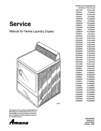 AMANA LEA60AW repair manual