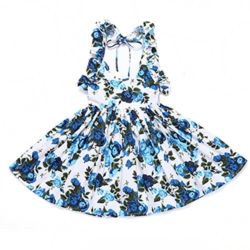 Perfectme Children Clothing Baby Girls Dress Brand Summer Beach Style Floral Print Party Backless Dresses 1-9Yrs,deep Blue DR16,ЧТ -
