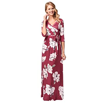 Womens Floral Printed Boho Seven Quarter Sleeve Dress with Belt Evening Party Womens Maxi Dresses Summer