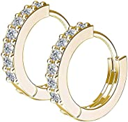 Small Hoop Earrings, 14K Gold Huggie Cubic Zirconia Cartilage Earring for Women