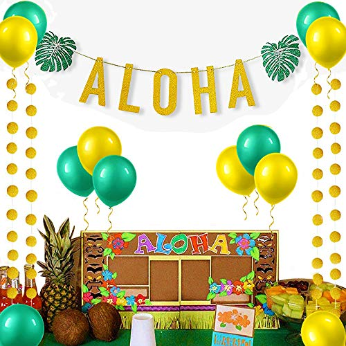 Luau Letter Banner - Gold Glittery Aloha Green Leaves Garland Aloha Banner 6 Pcs Yellow Balloons + 6 Pcs Green Balloons 4 pcs Gold Circle Dots Hawaiian Tropical Luau Beach Summer Party Decorations Supplies