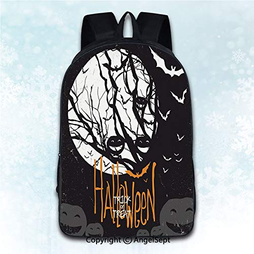 Women Backpack Oxford Cloth Elegant Shoulder Bag,Vintage Halloween Halloween Themed Image with Full Moon and Jack o Lanterns on a Tree Black White 16 inches,Backpacks for Teen Girls]()