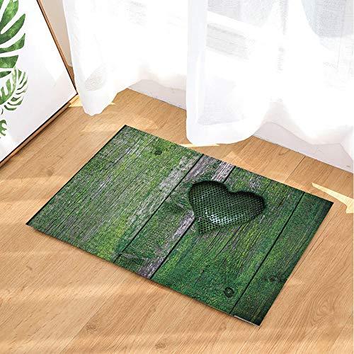 GoEoo Valentine's Day Bath Rugs Green Retro Wooden Plank Full of Moss Heart Non-Slip Doormat Floor Entryways Indoor Front Door Mat Kids Bath Mat 15.7x23.6in Bathroom Accessories - Green Wooden Door