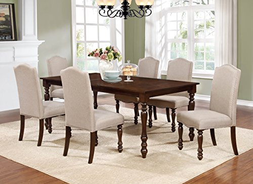 GTU Furniture 7-piece Walnut Finish Oversized Dining Room Set with Leaf, 1 Table w/ 6 Chairs