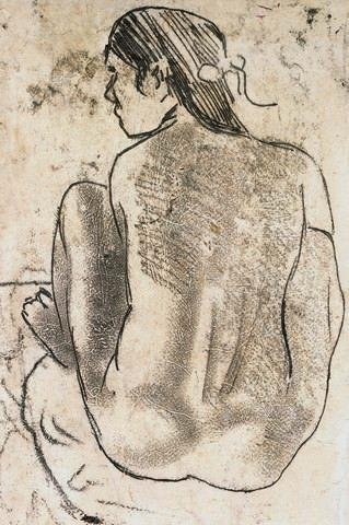 Wallmonkeys Tahitian Nude with Seated Back by Paul Gauguin Peel and Stick Wall Decals WM215154 (18 in H x 12 in W)