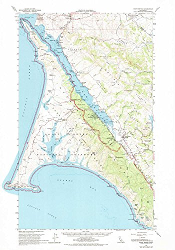 YellowMaps Point Reyes CA topo map, 1:62500 Scale, 15 X 15 Minute, Historical, 1954, Updated 1969, 25.7 x 18 in - Polypropylene