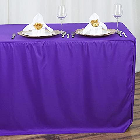 Efavormart Purple Fitted 8 Feet Tablecloths