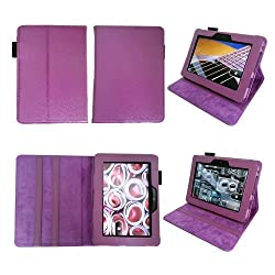 Bear Motion Premium 100 percent Genuine Leather Case for Kindle Fire HD 7 Inch Tablet Cover with Loop for - Purple MP