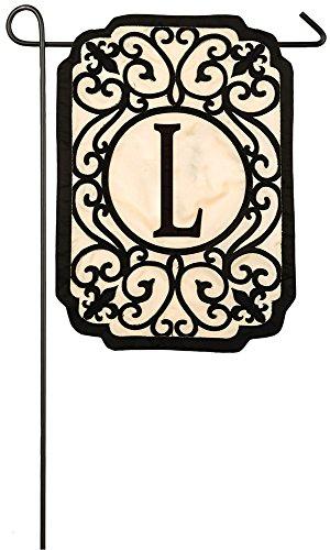 Evergreen Filigree Monogram L Applique Garden Flag, 12.5 x 1