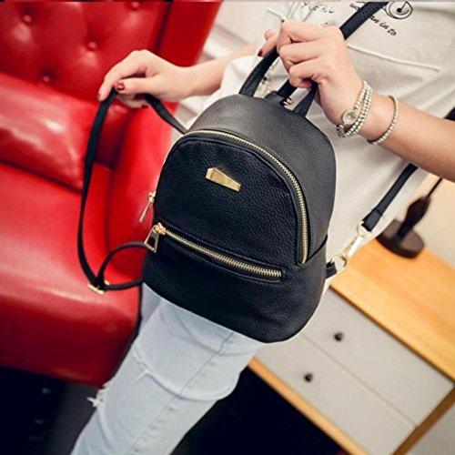 Lenfesh - Bolso mochila  de cuero sintético para mujer negro