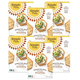 Simple Mills Everything Gluten Free Sprouted Seed Crackers with Chia Seeds, Hemp Seeds, Sunflower Seeds, Flax Seeds, and Sunflower Oil, Made with whole foods, 6 Count (Packaging May Vary)