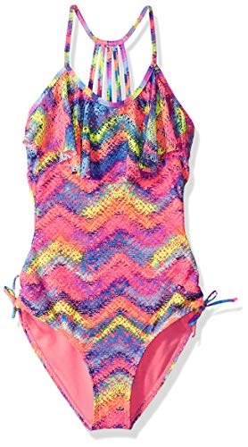 Angel Beach Big Girls' Sonic Multi Printed Crochet One Piece Swimsuit, Pink Color, 8]()
