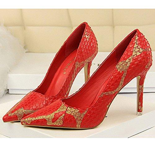 Red Haut Night Court Sexy Pompes Soirée Stiletto Mesdames Toe Chaussures Pointu Spiky Peu Shoes Club Profonde Talon Rétro De Bouche CHBw54
