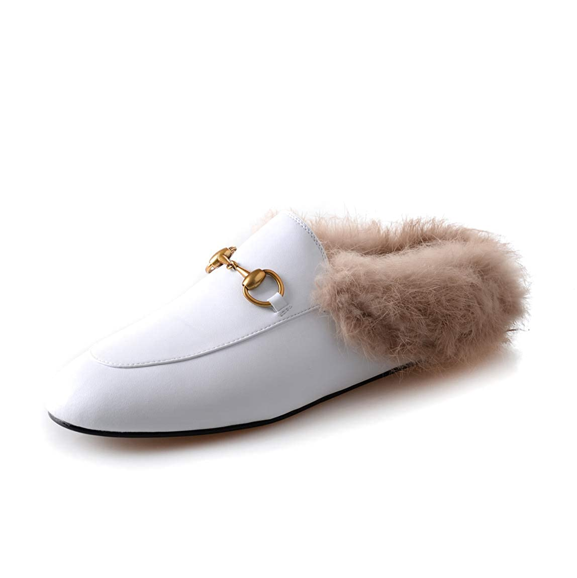 White HEETIST Backless Faux Fur Mules for Women, Round Toe Yellow Suede Flats Outdoor Slipper Flats shoes