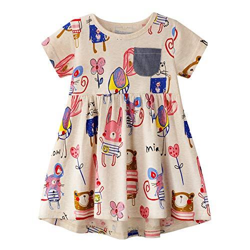 BIBNice Little Girls Playwear Dress Animal Print Cotton Skirt Short Sleeve Shirts 7T Animal Print Tunic Dress