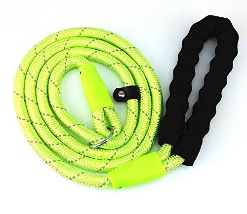yueton Adjustable Loop Slip Lead Rope Pet Dog Reflective Stripe Nylon Leash with Sponge Handle - Pet Leash Reflective