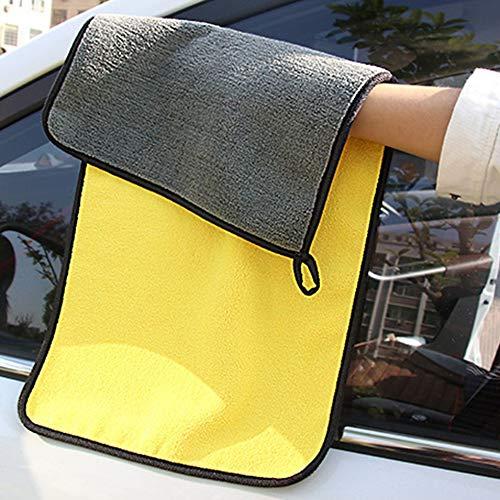 SEN Asciugamano per Lavaggio Auto Pulito ad Alta densit/à Bicolore Bicolore in Velluto Grigio e Giallo 650GSM 30x30